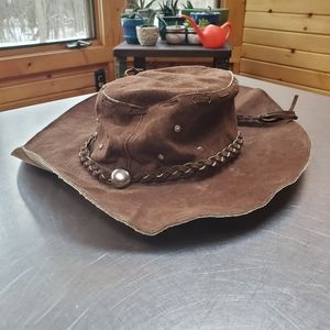 Vintage Brown Suede Bucket Hat